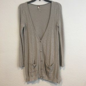 Free People Long Button Down Cardigan Sweater